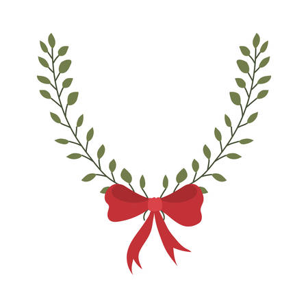 merry christmas leafs crown with bow decoration vector illustration design Zdjęcie Seryjne - 132519160