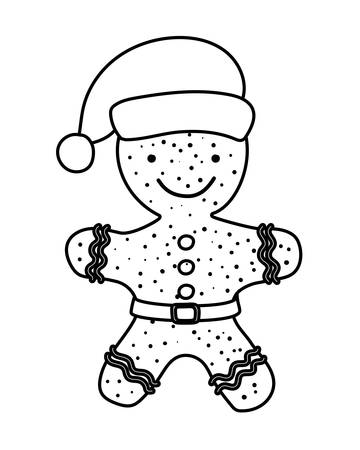 merry christmas card with sweet ginger cookie vector illustration design