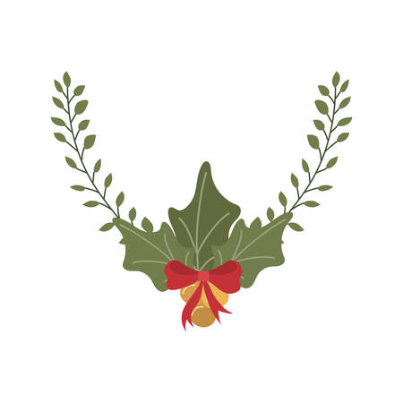 merry christmas leafs with balls hanging vector illustration design Zdjęcie Seryjne - 132519162
