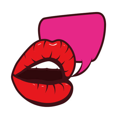 sexy woman mouth with speech bubble pop art style vector illustration design