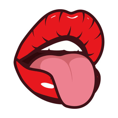 woman mouth with tongue pop art style vector illustration design