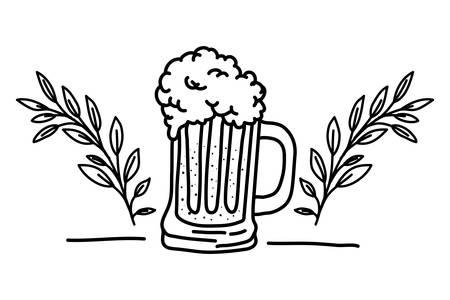 beer jar with wreath crown oktoberfest celebration icon vector illustration design