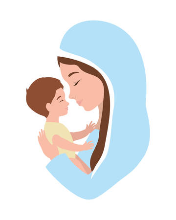 mary virgin lifting jesus baby manger characters vector illustration design