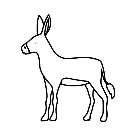 cute donkey manger animal character vector illustration design