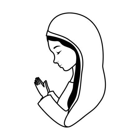 Süße Mary Jungfrau Krippe Charaktere Vektor Illustration Design