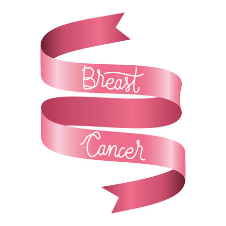 breast cancer campaign ribbon with calligraphy vector illustration design