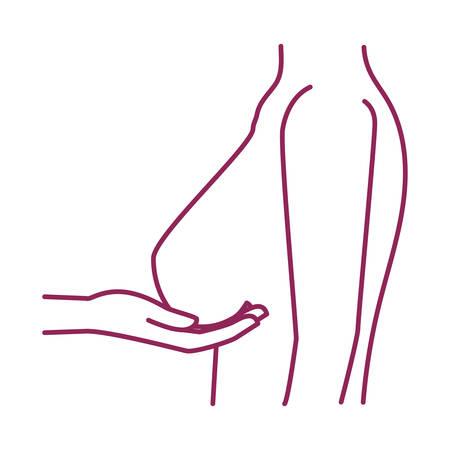 breast cancer woman body self examination vector illustration design Stock Vector - 132544119