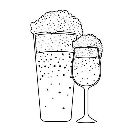beer glass with cup oktoberfest celebration vector illustration design Ilustracja