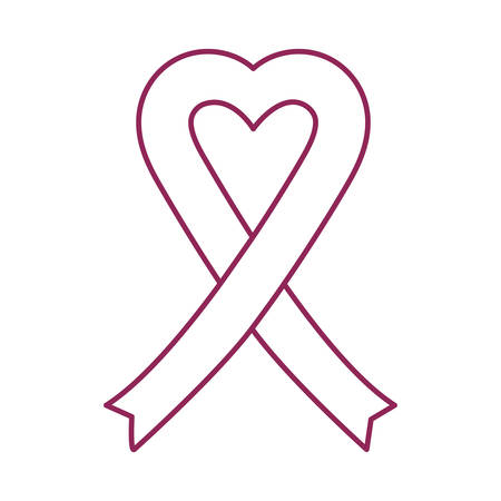 Breast Cancer Awareness heart with ribbon campaign vector illustration design