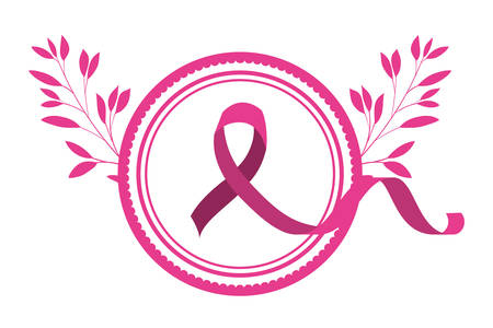 breast cancer campaign ribbon in circular frame with leafs vector illustration design