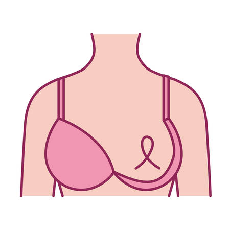 cancer woman body with ribbon and bra vector illustration design