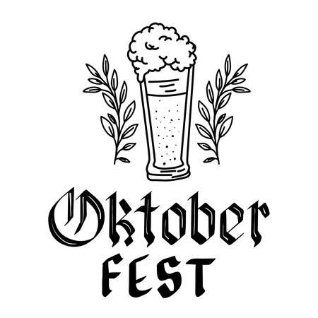 beer glass with lettering oktoberfest celebration icon vector illustration design Ilustracja