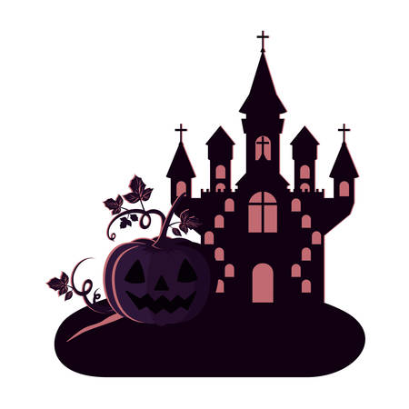 halloween dark castle with pumpkin scene icon vector illustration design Иллюстрация