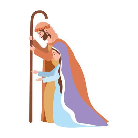 saint joseph and mary virgin manger characters vector illustration design