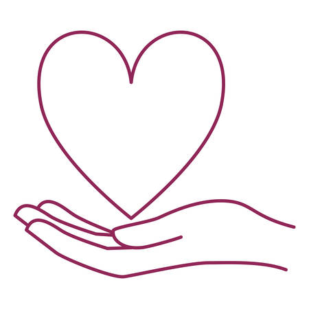 hand with heart breast cancer charity icon vector illustration design