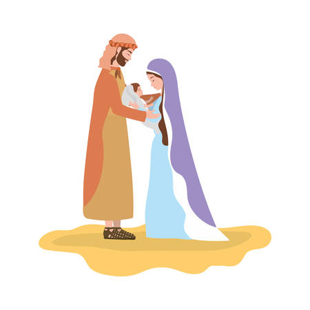 cute holy family manger characters vector illustration design