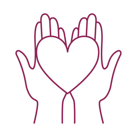 hands with heart breast cancer charity icon vector illustration design Ilustracja
