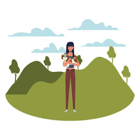 young woman lifting cute dog mascot in the field vector illustration design