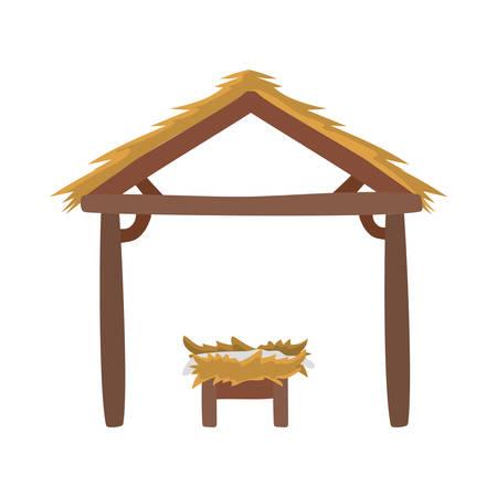manger wooden stable with cradle vector illustration design