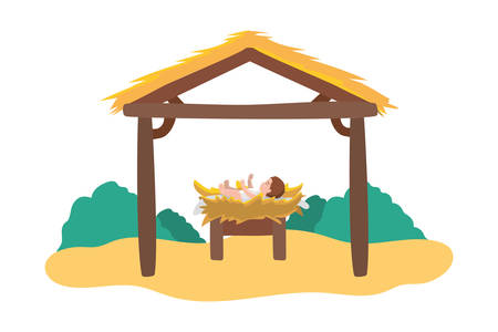 jesus christ baby in cradle and stable manger character vector illustration design