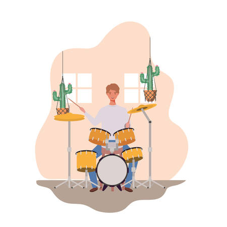 young man with drum kitand houseplants on macrame hangers of background vector illustration design