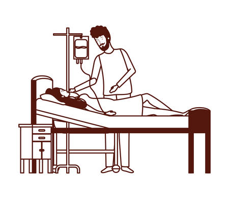 pregnancy woman in stretcher with father illustration design Illustration