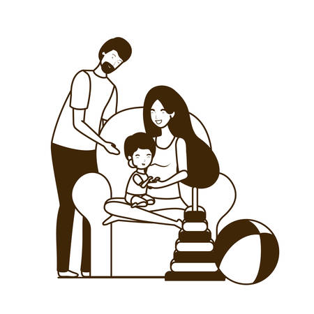parents couple with little baby in the sofa characters illustration design