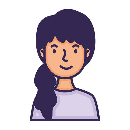 woman with horsetail character fill style illustration design