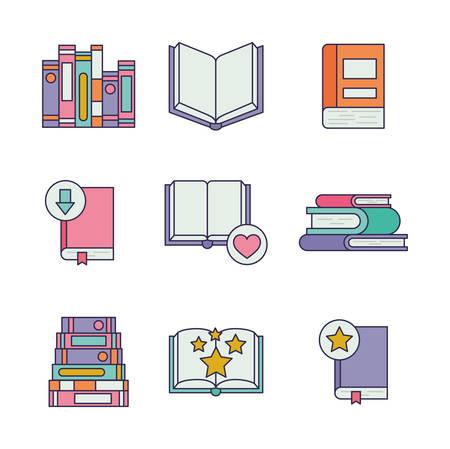 bundle of education text books vector illustration design Vecteurs