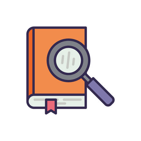 education text book with magnifying glass vector illustration design