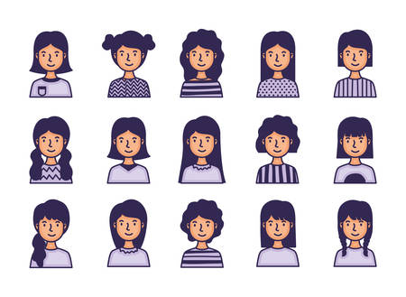 group of women avatars characters fill style vector illustration design