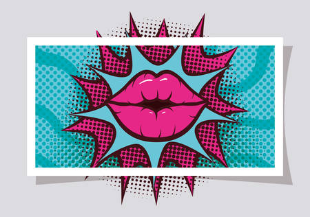sexy woman mouth with splash expression pop art style vector illustration design