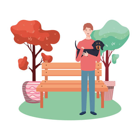 young man lifting cute dog in the park vector illustration design Vektorové ilustrace