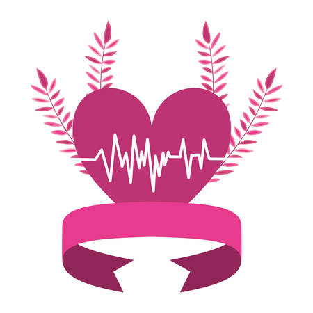 cancer campaign ribbon with heart love vector illustration design