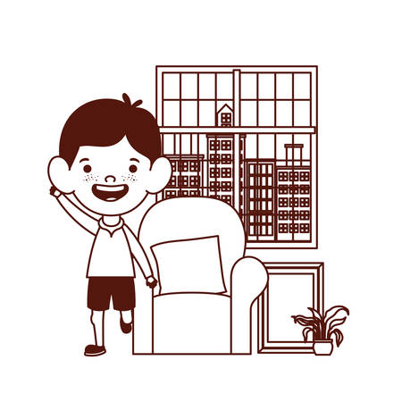 cute little boy baby in the living room character vector illustration design Illustration