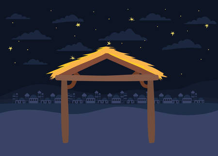 desert night with stable landscape scene icon vector illustration design