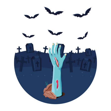 zombie hand coming out of the ground cemetery scene vector illustration design Ilustração
