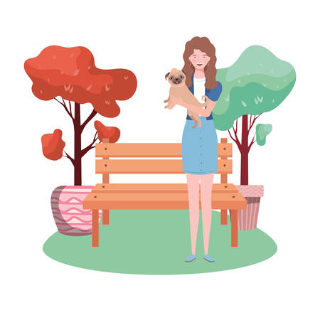 young woman lifting cute dog in the park vector illustration design