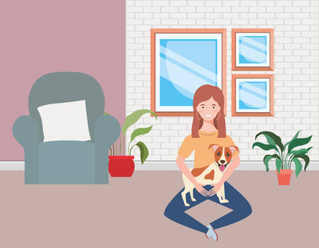 young woman with cute dog in the living room vector illustration design Vektorové ilustrace