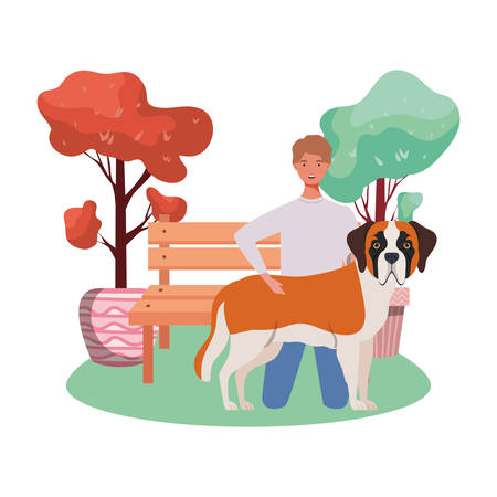 young man with cute dog mascot in the park vector illustration design Vektorové ilustrace