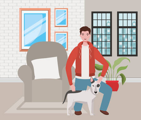 young man with cute dog mascot in the livingroom vector illustration design