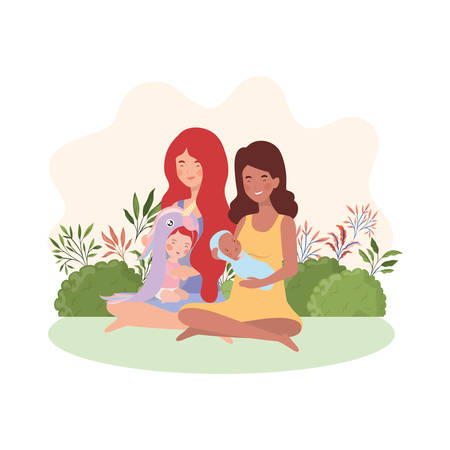 interracial pregnancy mothers seated lifting babies in the camp vector illustration