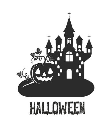 halloween dark castle with pumpkin scene icon vector illustration design