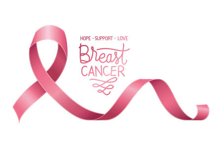 cancer campaign ribbon with calligraphy vector illustration design