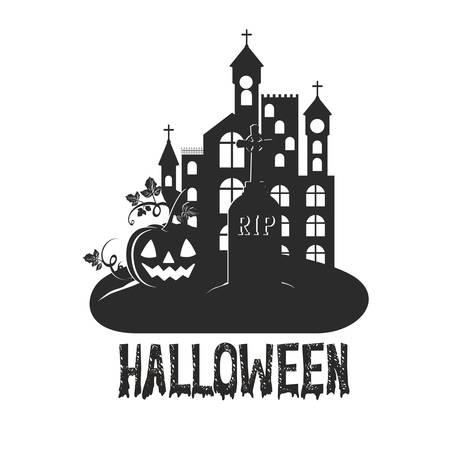 halloween with pumpkin scene icon illustration design