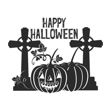 halloween celebration with pumpkins in cemetery scene illustration design