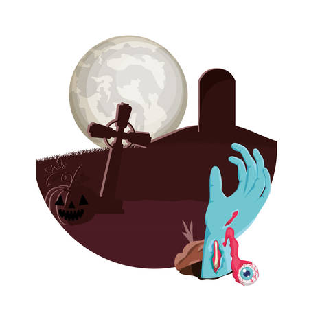 zombie hand coming out of the ground cemetery scene illustration design