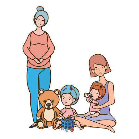 cute pregnancy mothers seated lifting little babies illustration Иллюстрация