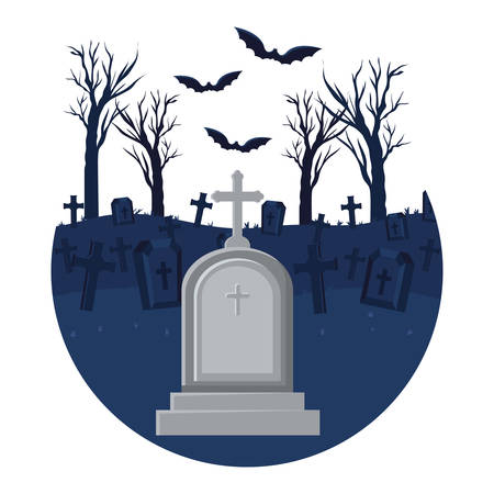 cemetery graveyard with cross with bats flying scene illustration design