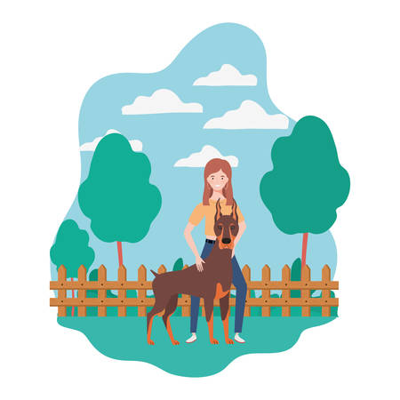 young woman with cute dog in the field vector illustration design